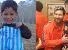 Sonho realizado! Menino que criou camisa de plástico conhece o ídolo Messi