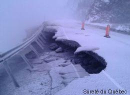 Gaspésie: des morceaux de la route 132 emportés par la vague
