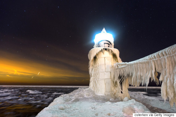 lighthouse michigan winter