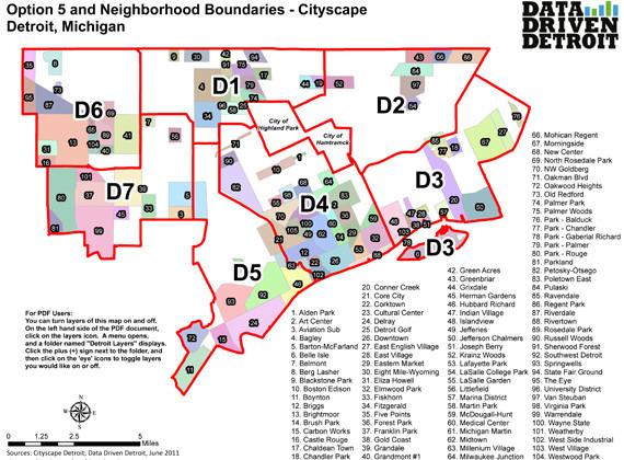 Detroit District Map Detroit City Council District Maps: 'Option 5' Gains Momentum  Detroit District Map