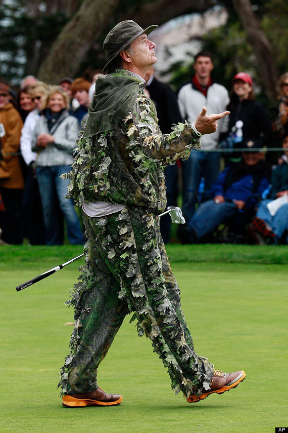 Pebble Beach Bill Murray Wears Camouflage Suit At Golf Tournament