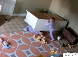 Remarkable Footage Shows Toddler Saving Twin From Fallen Dresser
