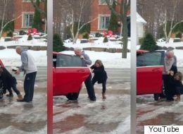 Cette Canadienne fait hurler de rire sa mère quand elle glisse sur le verglas
