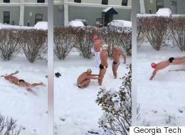 Rien n'empêchera ces nageurs de faire leur relais, pas même la neige