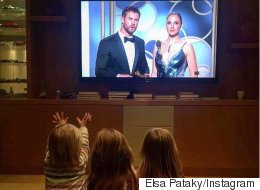 Chris Hemsworth's Kids Adorably Cheer On Dad At Golden Globes