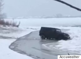 'Adventurous' Driver Ends Up In Frozen Lake Ontario