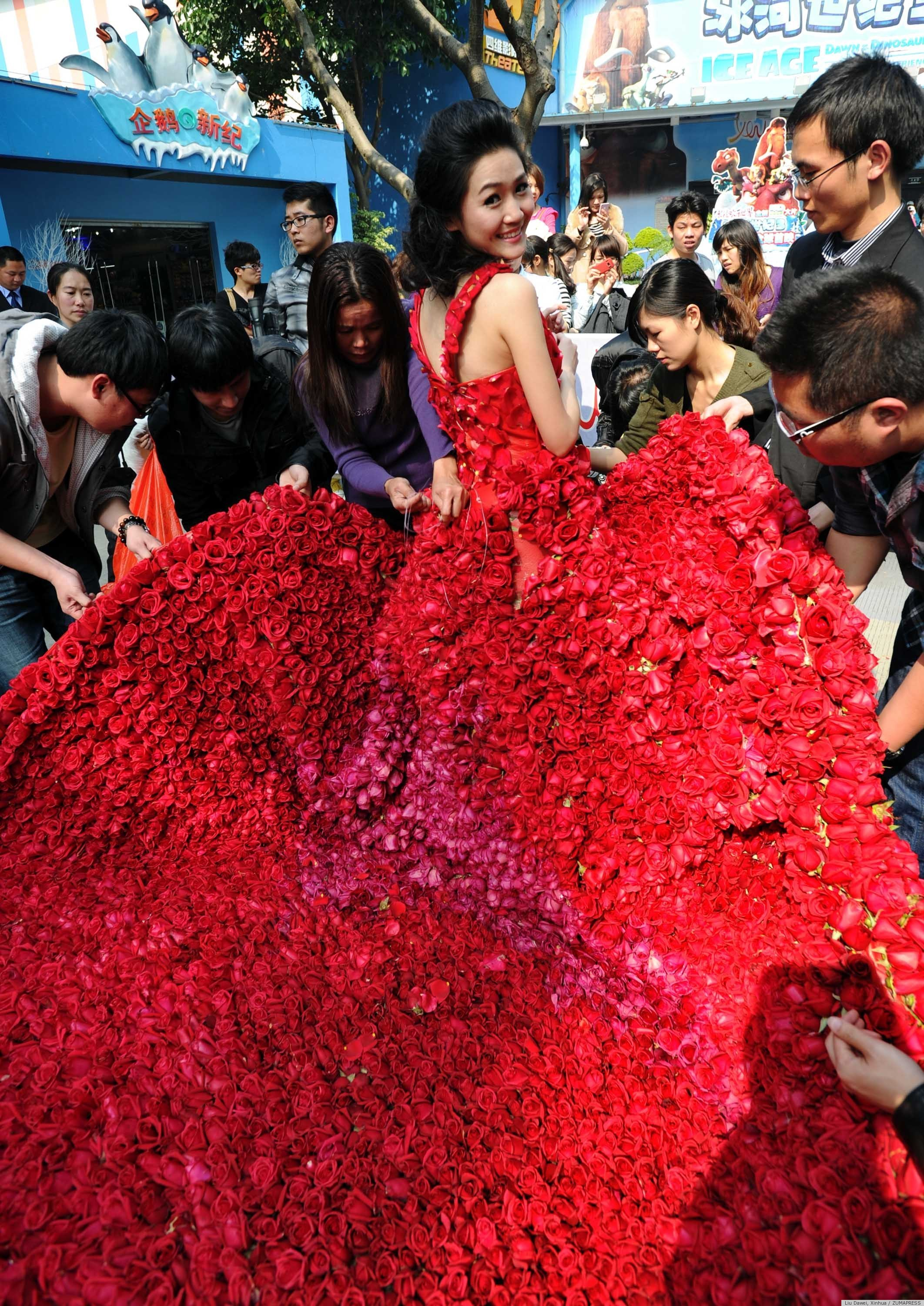 Chinese man proposes with dress made of 9 999 roses photo the
