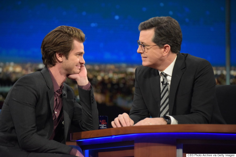 Andrew Garfield Kisses Stephen Colbert On 'The Late Show'