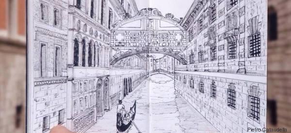 Il diario di Pietro che racconta dei suoi viaggi con il disegno