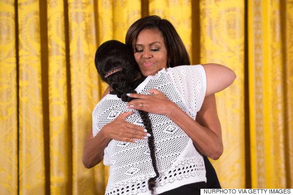 michelle obama hug