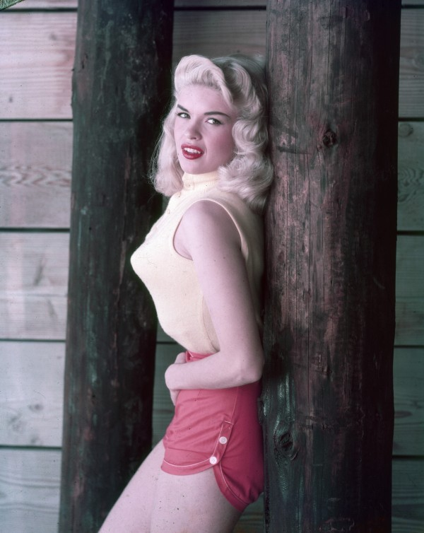 Jayne Mansfield s 1950s Style Includes Red Shorts, Pointy Bra