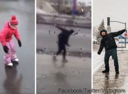 La météo extrême a donné droit à des moments cocasses