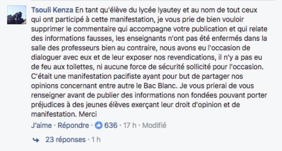 message facebook lycee lyautey