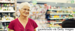 CASHIER AND OLD WOMAN