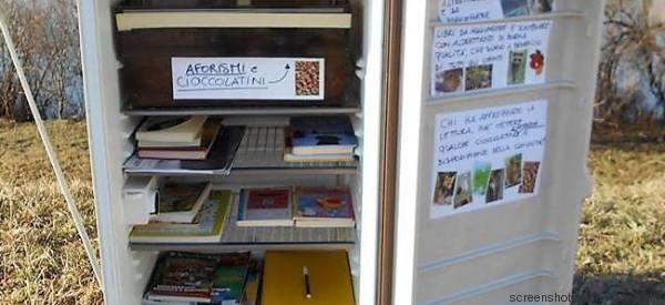 Il frigo abbandonato sulla riva del fiume trasformato in una biblioteca aperta a tutti