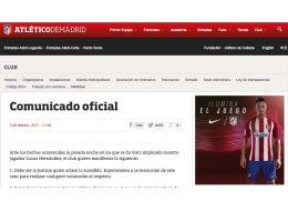 El Atlético pide respeto a la presunción de inocencia de Lucas Hernández