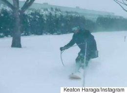 B.C. Snowboarder Rips Through City Street