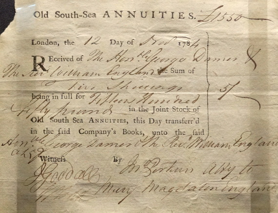 south sea annuities share certificate london