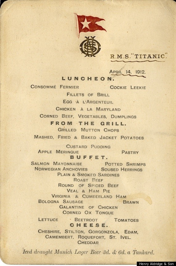 Titanic Menu First Class Menu Of Final Lunch Up For