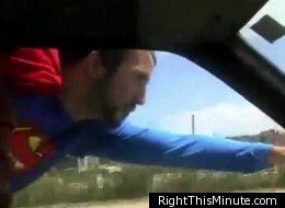 WATCH: People Make Like Superman Outside Of Car Windows