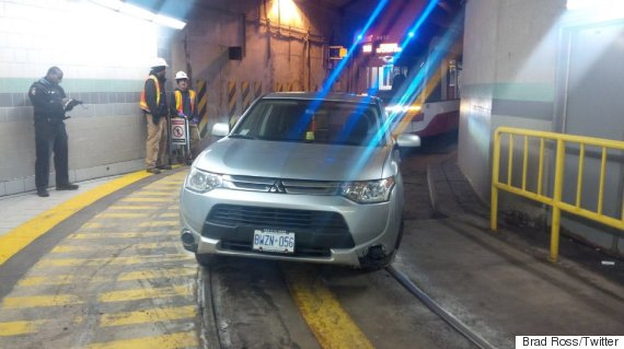 SUV stuck in TTC streetcar tunnel