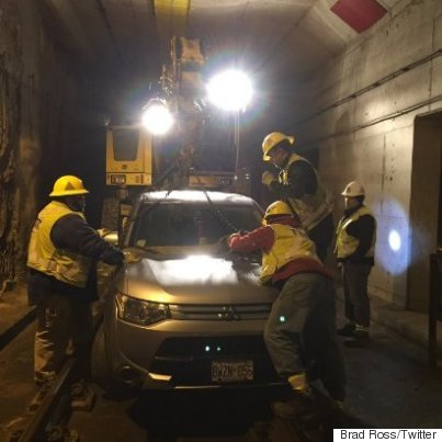 Driver flees after SUV ends up at Union Station streetcar tunnel