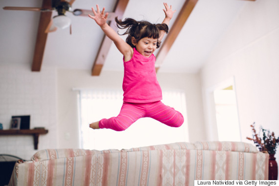 kids jumping sofa