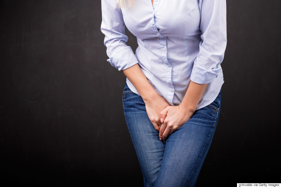 woman going pee in pain
