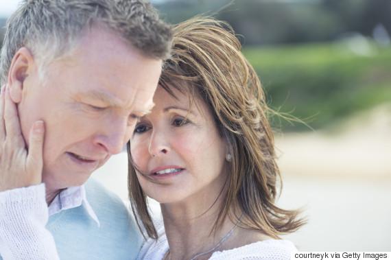 man sick worried wife