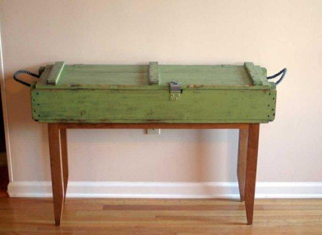 Unique Hallway Tables custommade curator: ammunition hallway table | huffpost