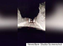 Terre-Neuve: ces murs de neige ont de quoi impressionner