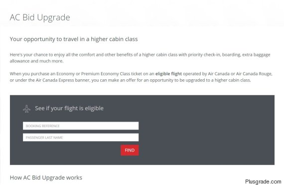 air canada bid upgrade