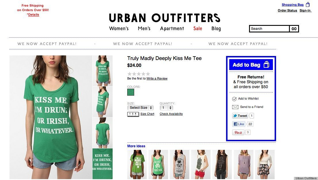 Urban Outfitters St Patricks Day Clothes Cause Outrage Photos