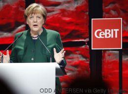Merkel baut in ihre Cebit-Rede einen Seitenhieb auf Trump ein