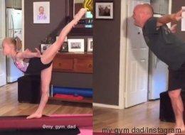 Il veut tout faire comme sa fille. Enfin, il essaie