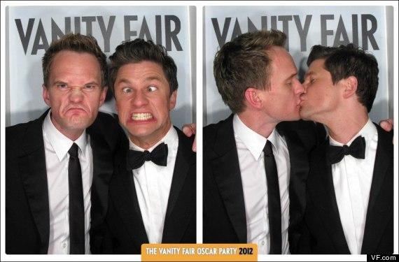 Celebs Get Silly Inside The Vanity Fair 2012 Oscar Kissing