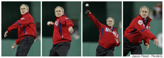 george w bush pitch baseball
