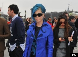 True Blue: Katy Perry Matches Her Coat And Shoes To Her Hair In Paris