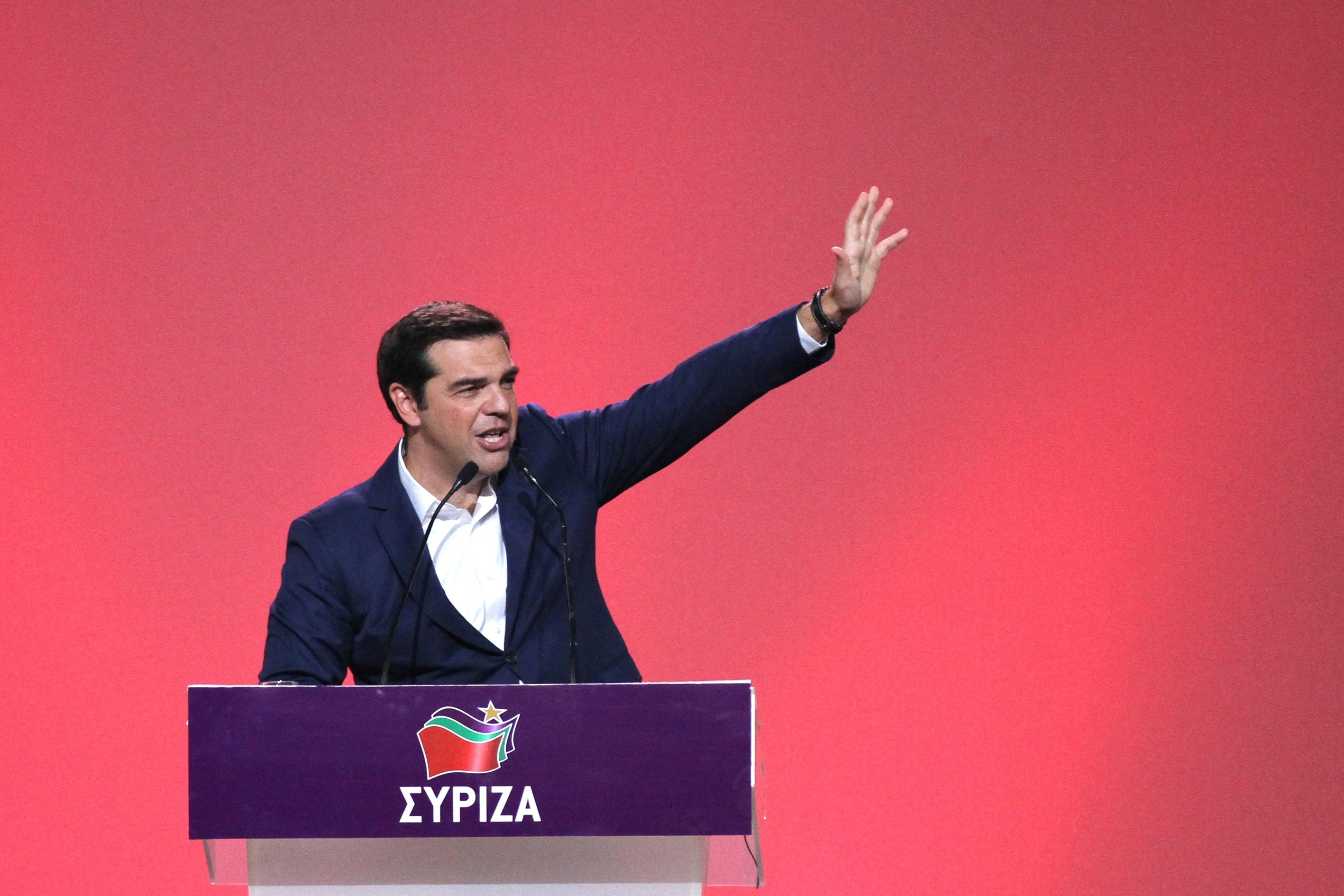 prime minister of greece alexis tsipras delivers a