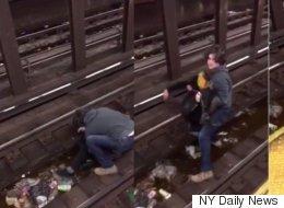 Un héros saute sur les rails du métro pour sauver un homme en détresse (VIDÉO)