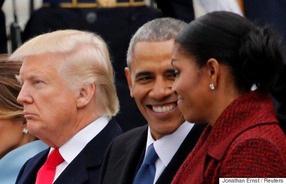 obama smiling trump