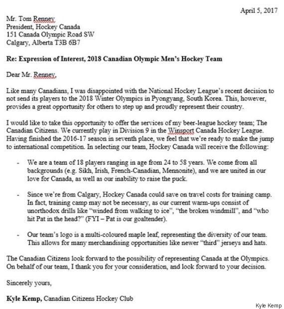 hockey letter