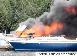 Dramatic Video Shows B.C. Boat Totally Engulfed In Flames