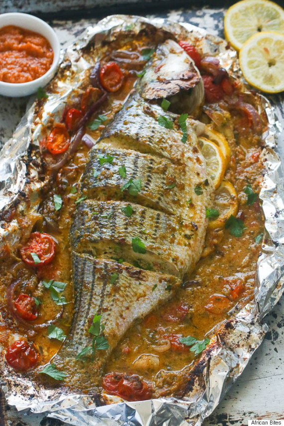 whole baked sea bass