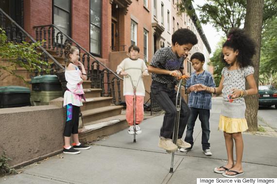 kids playing in street