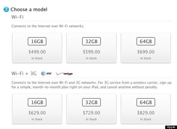 New Apple iPad 3G 2012 price