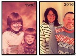 19 Fotos, auf denen Geschwister meisterhaft alte Familienbilder nachgestellt haben
