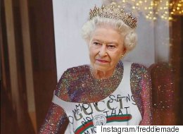 영국 엘리자베스 여왕이 리한나로 변신했다