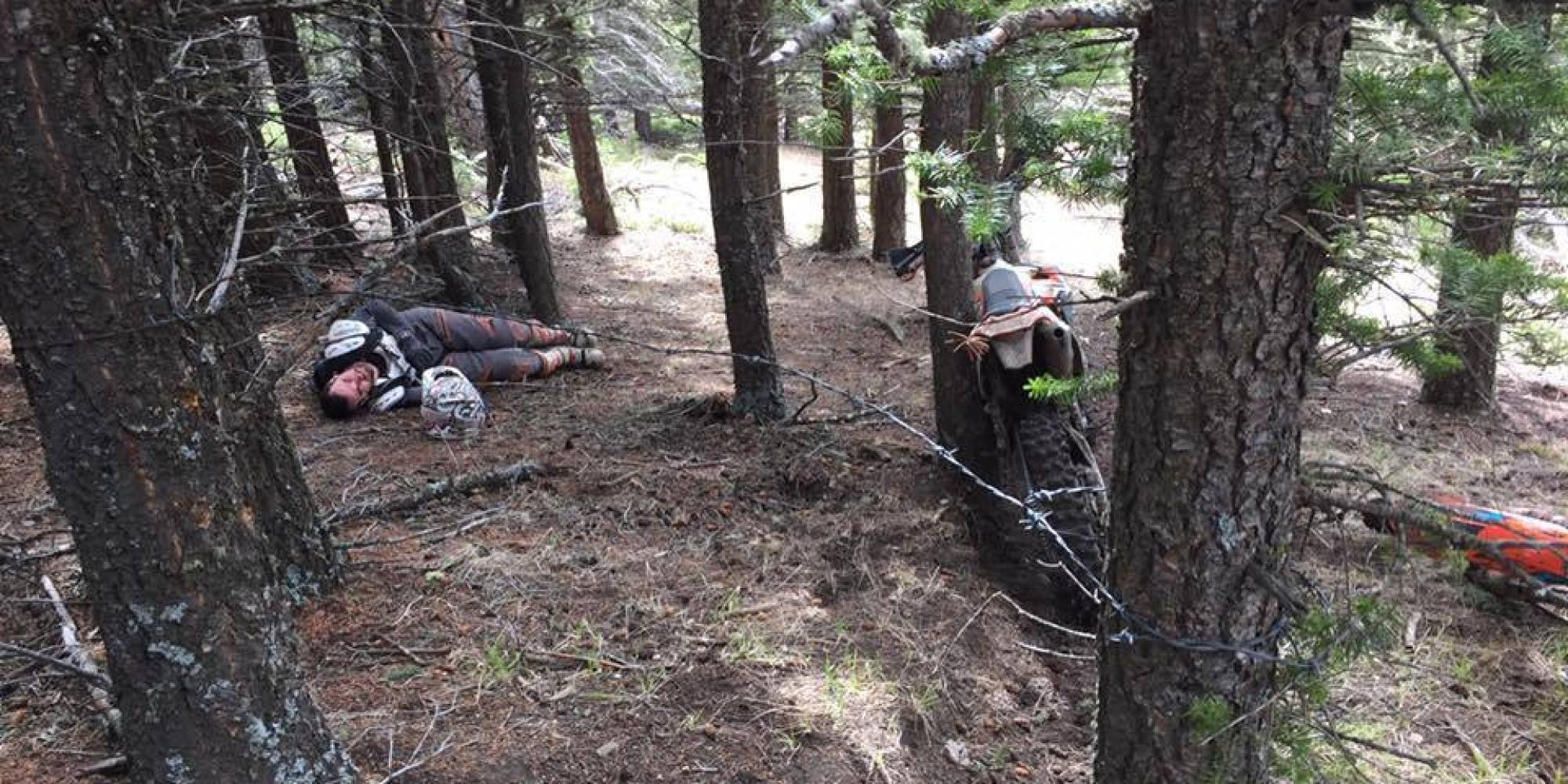 Alberta dirt bikers narrowly avoid injury after barbed