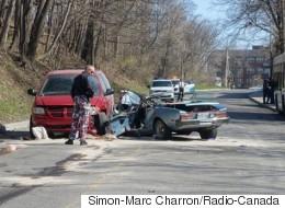 Violente collision entre une voiture et un autobus à Montréal-Ouest